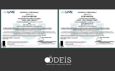 Certification LNE renouvelée pour les solutions Odeis !